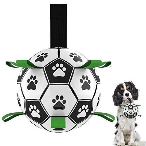 Pelota de fútbol para perros con lengüetas, bolas para masticar, juguete para perros pequeños y medianos, juguete interactivo para interiores y exteriores