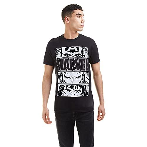 Marvel Hero Eyes Light T-Shirt, Nero, L Uomo