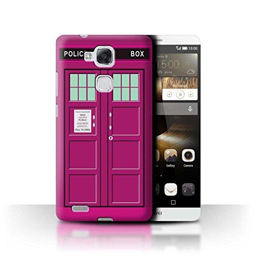 Hülle Für Huawei Ascend Mate7 Tardis Telefonzelle Kunst Rosa Design Transparent Ultra Dünn Klar Hart Schutz Handyhülle Case