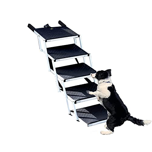 JYOKK Rampa de Carga Acceso para Mascota Perro 80kg Rigida Robusta Plegable Plataforma Aluminio Superficie Antideslizante 5 Pasos La Manera Ayudar a tu Perro a Subir