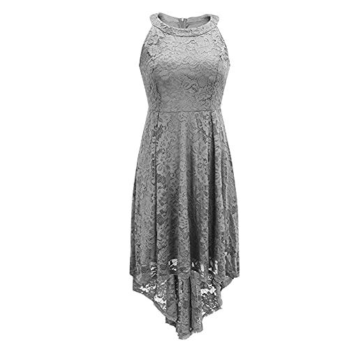 KeYIlowys Vestido De Noche Sexy De Moda para Mujer Vestido De Encaje Falda De Cola De Golondrina De Longitud Media