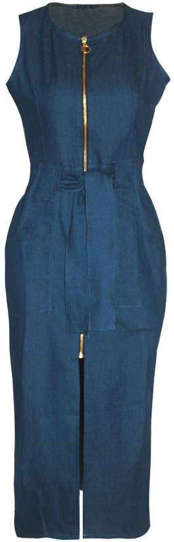 Sexy Fashion Sleeveless Denim Slim Dress, Women Jean Skirt Summer,XL