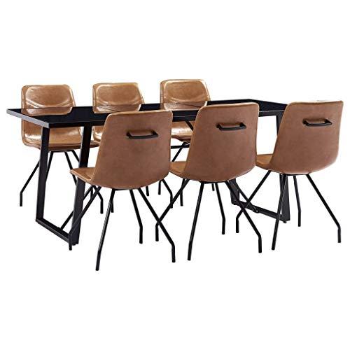 vidaXL Essgruppe 7-TLG. Sitzgruppe Esstischset Esszimmergarnitur Esszimmergruppe Tischset Esszimmertisch Esstisch 6 Stühle Cognac Kunstleder