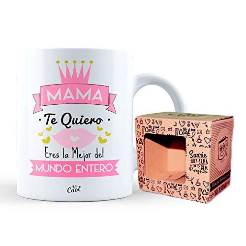 Mr Cool Taza 33 cl en Caja Regalo con Mensaje Mama te Quiero Eres la Mejor del Mundo Entero, Cerámica, 15x10x5 cm