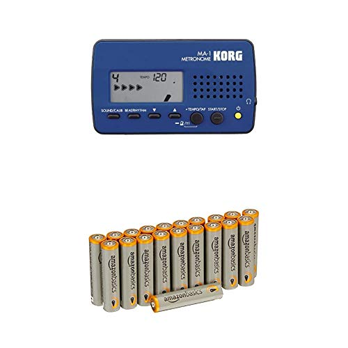 KORG MA-1, Digitales Metronom, schwarz/blau mit Amazon Basics Batterien