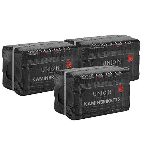 UNION 120kg 216 Stück Kaminbriketts Braumkohlebriketts Klütten für Ofen Kamin Feuerstellen