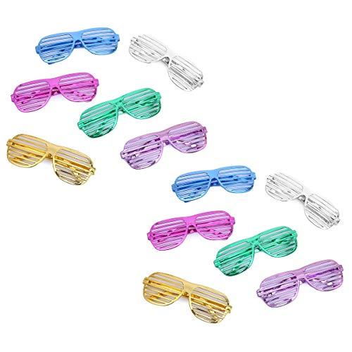 Flanacom Partybrillen 12er Set in 6 verschiedenen Metallic Farben - Partybrille Atzenbrille Scherzbrille Spaßbrillen - Scherzartikel für Geburtstagsparty, Fasching, Karneval, Malle (12er Set)