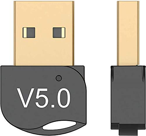 OMENT Adaptador Bluetooth USB 5.0 para PC, receptor inalámbrico Bluetooth compatible con PC Windows XP/7/8/8.1/10 para auriculares, teclado, impresoras, ratón y más, Plug and Play