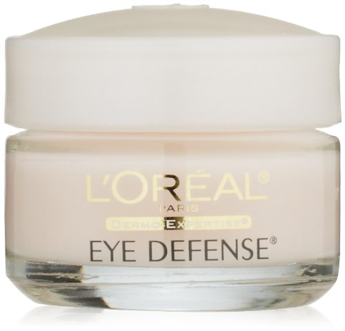 L'Oreal Paris Skincare Eye Cream to Reduce Puffiness, Lines and Dark Circles, L'Oreal Paris Skincare Dermo-Expertise Eye Defense Eye Cream with Caffeine and Hyaluronic Acid For All Skin Types, 0.5 oz.