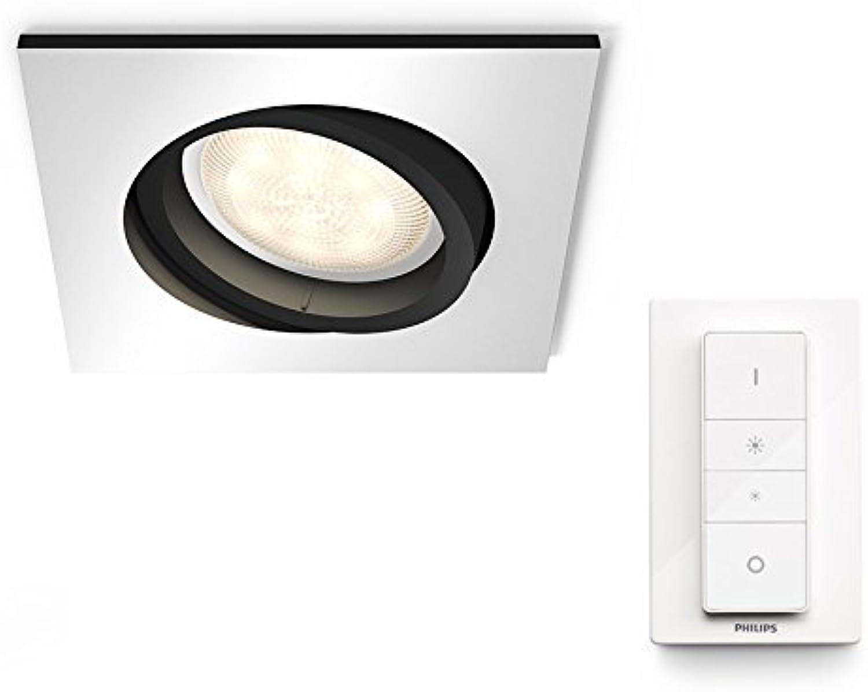 Philips Hue Weiß Ambiance LED Einbauspot Milliskin inkl. Dimmschalter, dimmbar, alle Weischattierungen, steuerbar via App, aluminium, eckig, kompatibel mit Amazon Alexa (Echo, Echo Dot)