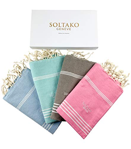SOLTAKO 4 toallas de playa, toalla de sauna, toalla de baño, toalla de hamán, toalla de yoga, manta pestemal en rosa cerezo, menta, topo, azul cielo, tamaño extragrande, 100 x 200 cm