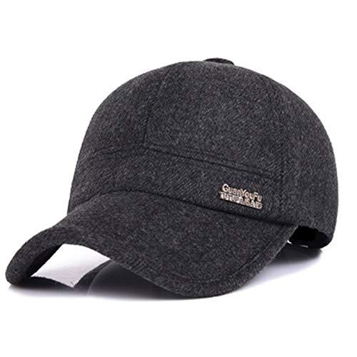 XMSIA Sombrero Plano para Hombre Hombre Caliente de Invierno Tweed Pico del Sombrero de Gorra de bisbol con Plegable Caps de Boina de Peridicos (Color : Black, Size : Medium)