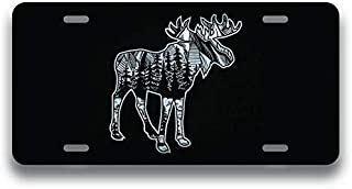 JMM Industries Moose Geometric Wild Mountain Vanity Novelty License Plate Tag Metal Car Truck 6-Inches by 12-Inches Etched Metal UV Resistant ELP131