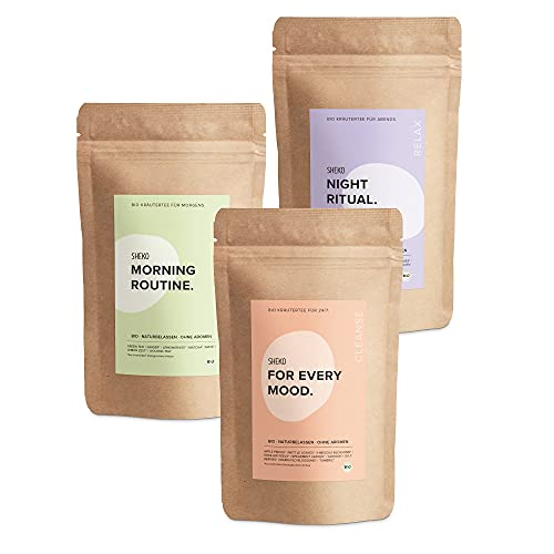 SHEKO Detox Tee zum Abnehmen Bio Tee Set | 3x60g Bio Tee lose | Detox Tee Bio ohne Aromen | Idealer Detox Tee zum Entgiften & als Eistee ohne Zucker
