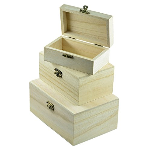 3 Stück Holz quadratisch Schmuckschatulle Schatzkiste Holzkiste Holzkästchen Holzschachtel Kiste Bastelbedarf Schatztruhe