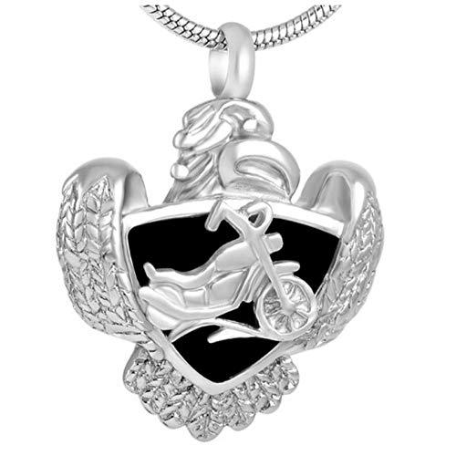 Wxcvz Colgante para Conmemorar Motocicleta En Escudo con Collar con Colgante De Cremación De Águila, Joyería De Cenizas Funerarias Conmemorativas para Veteranos