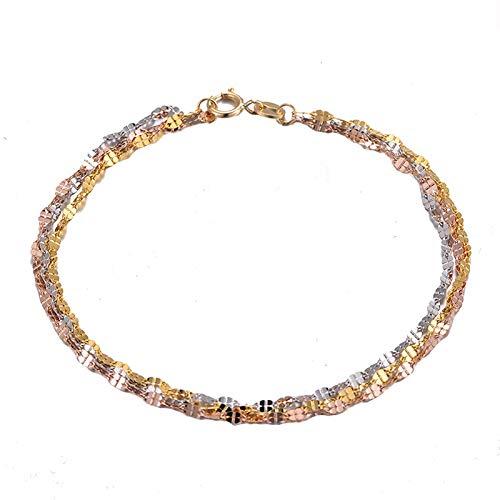 A-myt Funciona Bien Color Puro Saturado 18K Pulsera de Oro multifit-Tono Ladies Lucky Clover Cadena Link Pulsera Regalo De Moda (Color : Gold, Size : 17cm)
