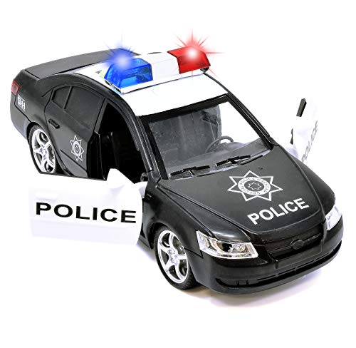 Police Car Toy Friction Powered Rescue Vehicle with Lights and Siren Sounds for Boys Toddlers and Kids, Push and Go Pull Back Diecast Emergency Transport Vehicle Car