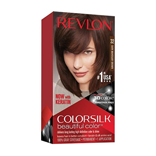 Revlon Colorsilk Beautiful Color Permanent Hair Color with 3D Gel Technology & Keratin, 100% Gray Coverage Hair Dye, 32 Dark Mahogany Brown