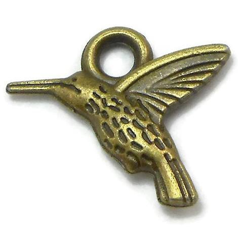 20 Hummingbird Charms bronze brass tone bird