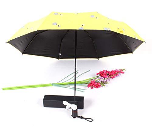 CapsA Travel Umbrella,Charging Folding Umbrella with Fan 2000 MAh to Send Fan Windproof Reinforced Quick-Drying Lightweight Sun Rain Umbrella (Yellow)