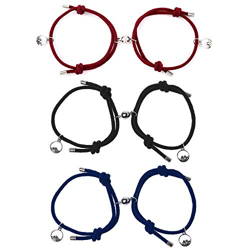 6Pcs Pulseras Magnéticas Parejas Pulseras de Pareja para Atraer Hebilla Magnética Pulsera de Cuerda Trenzada Ajustable Pulsera de la Amistad a Juego Pulsera para Parejas (negro/azul/rojo) (Estilo A)