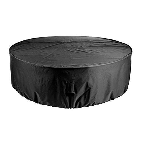 Leeofty Fundas para muebles de patio al aire libre Juego de sillas de mesa impermeables Fundas a prueba de viento Cubierta redonda resistente al desgarro para jardín al aire libre Patio Patio Cubierta