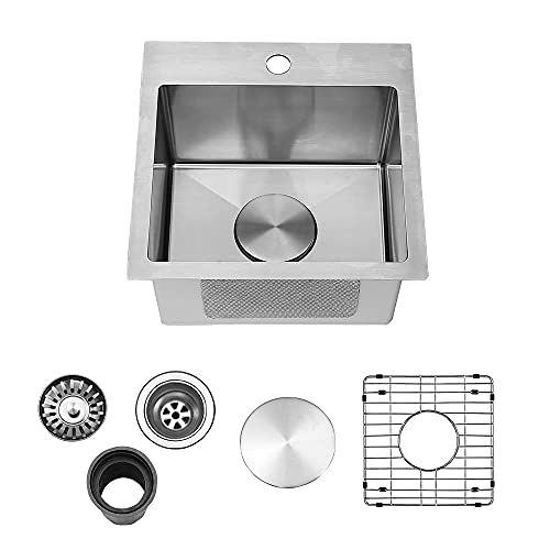 VAPSINT Topmount Brushed Nickel Drop in 15 inch Bar Sink, Single Bowl RV Kitchen Sink with Stainless Steel Grid and Strainer