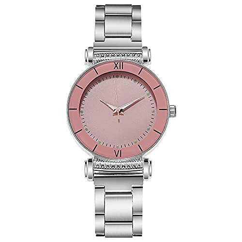 New Style Ladies Watches, Ladies Fashion Casual Stainless Steel Watches, Simple Ladies Small Dial Quartz Clocks, Dress Watches (Color : Pink)