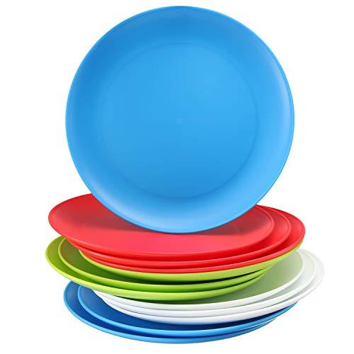 Set of 12 – Plastic Kids Plates - 9 Inch Kid Plates - Reusable Kids plate – Dinner Plastic Plates for Kids - BPA Free Food Safe Kids Dishes- Assorted Colors kid Plates - Microwave Dishwasher Safe