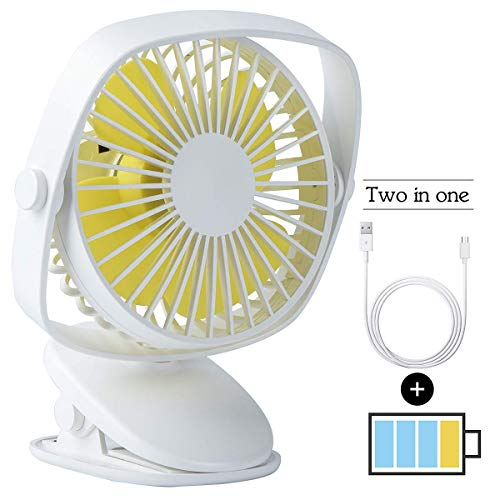 Ventilador USB con batería de 5 'Clip portátil en mini ventilador personal 720 & deg; Recargable para cochecito de bebé Cama Escritorio Coche Computadora portátil Mesa Camping al aire libre Oficina