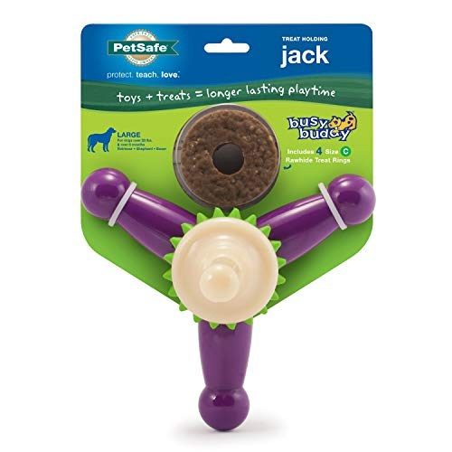 PetSafe Busy Buddy Jack Dog Challenging – Tough Chewers – Treat Rings Included – Small, Medium, Large