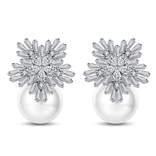 YTTde Pendientes de Perlas con 18k Chapado en Oro Blanco AAA + Zircon 15mm Tachuelas para Las Mujeres para Las Mujeres Joyería de Moda Adolescente,B