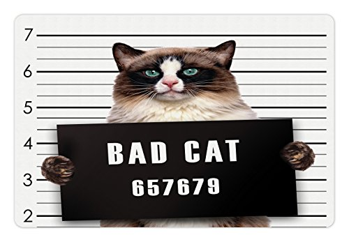 Ambesonne Cat Pet Mat for Food and Water, Bad Gang Cat in Jail Kitty Under Arrest Criminal Prisoner Hangover Work, Non-Slip Rubber Mat for Dogs and Cats, 18' X12', Brown Black