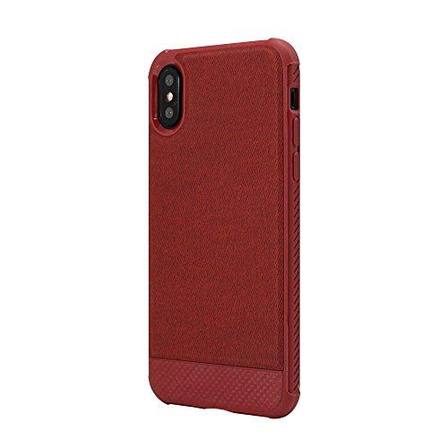 Capa Carbon protetora para iPhone X/XS, lateral emborrachada flexível, acabamento texturizado, Vermelho, IPSXR, Geonav, 75 x 145 x 10 mm