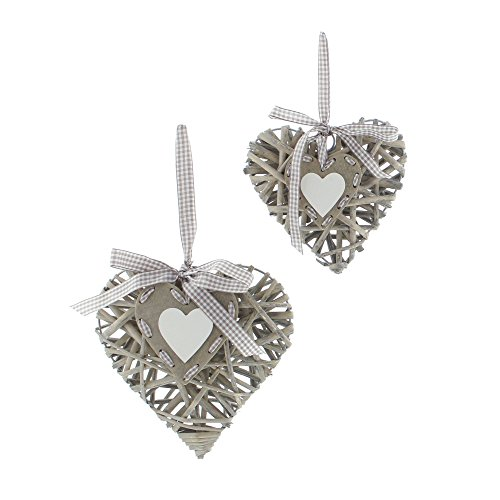 "Decorative Hanging ""Willow Heart"", Set of 2"