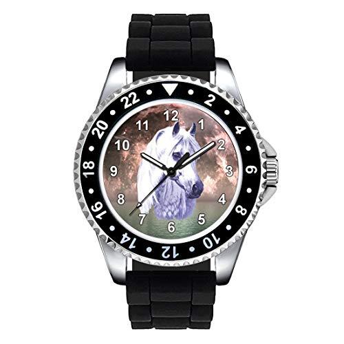 Timest - Caballo Blanco - Unisex Reloj con Correa de Silicona Negro Analógico Cuarzo CSE023SB
