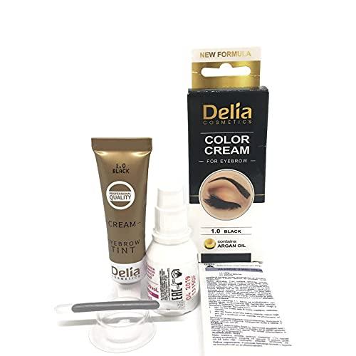 Tinte profesionales para cejas y pestañas profesionales, 16ml KIT Delia Negro/Marrón/Marrón Oscuro (Negro)