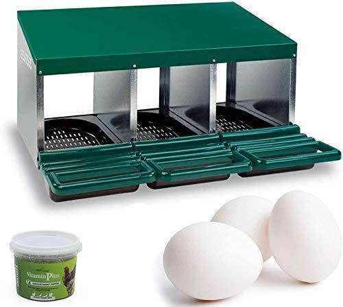 FINCA CASAREJO Ponederos para gallinas + Huevos Falsos macizos + vitaminplus 50g. Ponedero Eco 3 Huecos
