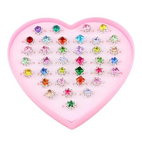 huitailang Anillo para niños con 36 piezas, anillos ajustables de cristal para niñas, con caja de corazón, anillos para niñas, anillos para niña, para niñas