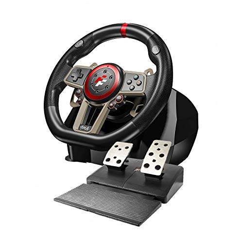 Game Racing Wheel, PC Racing Wheel, Universal USB Car Sim 270/900 Degree Race Steering Wheel with Pedals Compatible for PS3, PS4, Xbox, One,Xbox 360,PC, Nintendo Switch