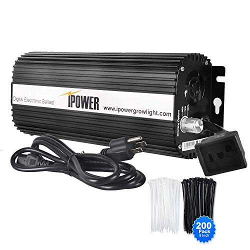 iPower Horticulture 1000 Watt Digital Dimmable Electronic Ballast for Hydroponic HPS MH Grow Light with 200pcs Cable Tie of 8', 1000W, Black