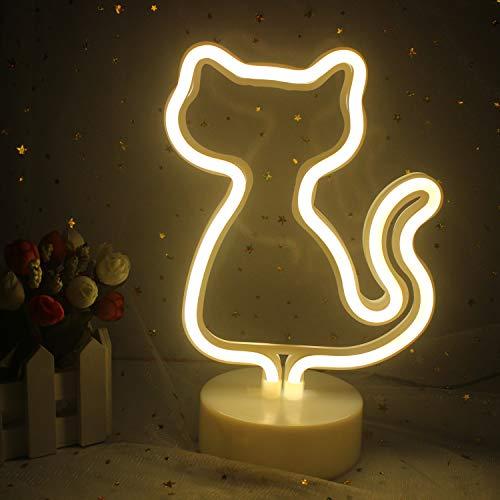 LED dekorative Katze Neonschild, Katzenständer Lampe mit Sockel, warmweißes Licht, USB/Batterie, schöne Nacht Schild, geeignet für Kinderzimmer Mädchen Schlafzimmer Geburtstag Party liefert