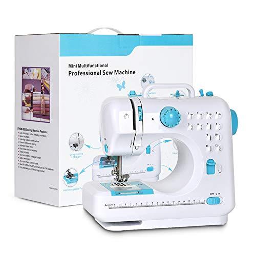 NEX Portable Sewing Machine Double Speeds for Beginner Art Craft 12 Stitches, Blue
