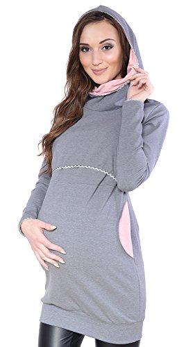 Mija - Umstandsmode / 2 in1 Elegant Stillpullover & Umstandspullover Ellie 7129 (EU44 / XXL, Grau/Rosa)