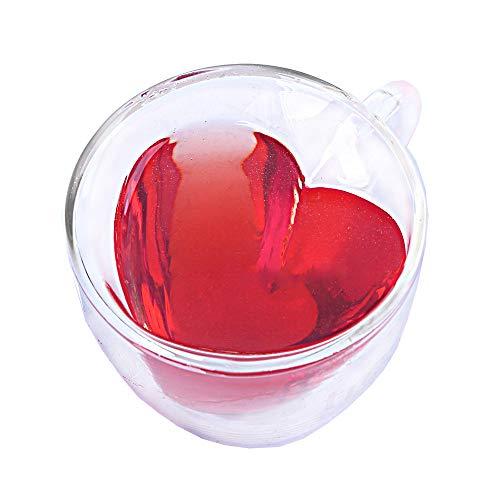 YJQX Wand-Glas-Becher Trinkgefäße Herz-Liebe-Shaped Heat-Resisting Tee Bier-Becher Saft Cup-Kaffeetassen GIF,240ml