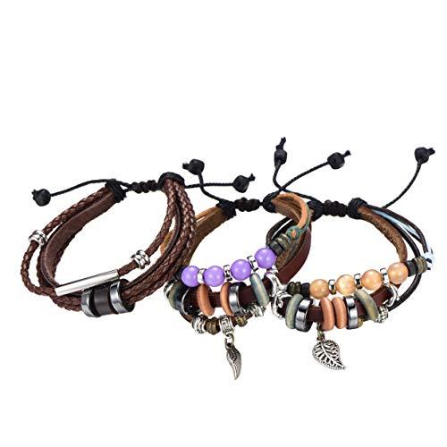 Morella Damen Lederarmband Set bestehend aus 3 Armbändern mit Anhängern und Verziehrungen