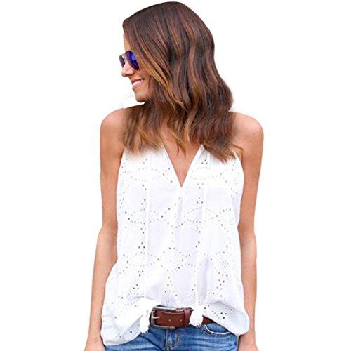 MRULIC Damen 100% Baumwolle Frauen Pullover Solide T-Shirt Ärmellose Casual Hemd Mit Löchern(Weiß,EU-48/CN-3XL)
