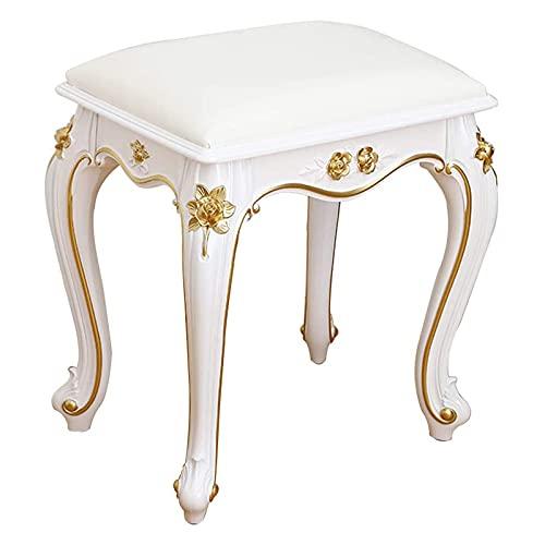 Chairs & Stools Stuhl Schminktisch, Make-up Sitz Barock Klavierstuhl Vintage Soft Cushion Gepolsterter Hocker Vanity Makeup Hocker für Schlafzimmer Make-up 40x29x43cm