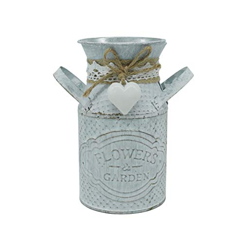 CVHOMEDECO. Primitives Vintage Mini Jug Vase Metal Milk Can with Tied Heart, Chic Rustic Flower Planter for Garden and Home Décor. 5 X 3 X 5-3/4 Inch